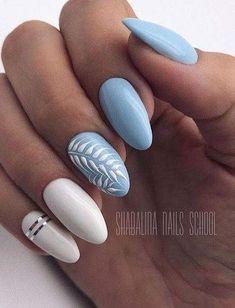 Super ideas for nails white blue art designs - - Super ideas for nails white blue art designs nails. ⚡️ Super ideas for nails white blue art designs Summer Acrylic Nails, Best Acrylic Nails, Acrylic Nail Designs, Nail Art Designs, White Summer Nails, Blue And White Nails, Spring Nails, Nailart, Nail Polish