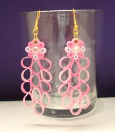 Pink and white hanging earrings Hanging Earrings, Quilling, Pink, Bedspreads, Pink Hair, Quilling Art, Quilting, Paper Quilling