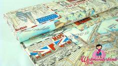 0,5mtr Canvas Baumwolle Stoff MAPS OF LONDON Dekostoff R24