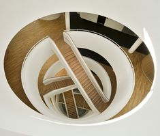Concentric circles. Architecture. Staircases. Wood