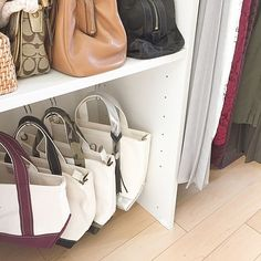 Aim for storage beauty! 3 points for closet and closet storage , Bedroom Wardrobe, Wardrobe Closet, Walk In Closet, Wardrobe Ideas, Handbag Storage, Diy Handbag, Wardrobe Storage, Closet Storage, Minimal Wardrobe