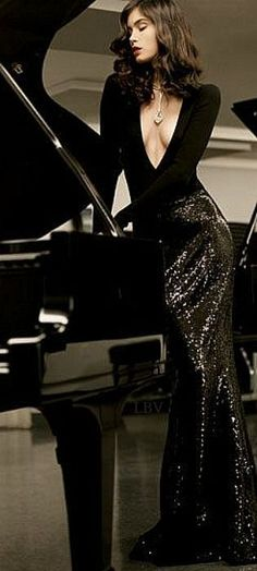 Girl Leaning on Grand Piano, femme fatale Black Wedding Dresses, Formal Dresses, Black Tie Affair, Glamour, Dressed To Kill, Suspenders, Sexy Women, My Style, Piano Girl