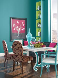 love this color scheme and  the lime aqua bookshelf