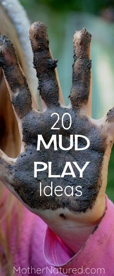20 Mud Activities for kids. Time to get dirty with some fun MUD PLAY! Natural play spaces for kids. Outdoor play spaces for kids. Play areas for kids. Outdoor play areas for kids. DIY play space for Kids. Forest School Activities, Outside Activities, Nature Activities, Outdoor Activities For Kids, Games For Toddlers, Outdoor Learning, Sensory Activities, Toddler Activities, Camping Activities