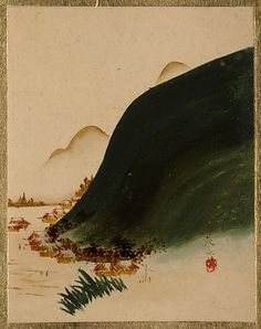 Mountains and Houses  Shibata Zeshin  (Japanese, 1807–1891)  Period: Edo period (1615–1868) Culture: Japan Medium: Album leaf; lacquer on paper