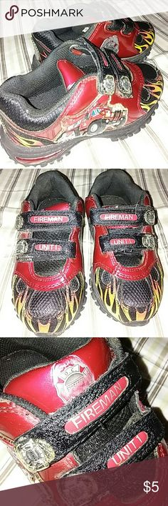 Little boy shoes Little boys fire truck themed shoes.lovingly worn.some sighns of wear. no brand Shoes Sneakers