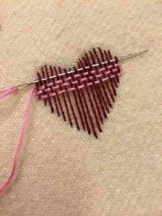 Ribbon Embroidery For Beginners Surface darning - nice illstration. I might switch to a blunt tapestry needle for the back-and-forth weaving, after laying down the weft with a pointed needle. Hand Embroidery Stitches, Ribbon Embroidery, Cross Stitch Embroidery, Embroidery Designs, Embroidery Techniques, Embroidery Hearts, Sashiko Embroidery, Creative Embroidery, Knitting Stitches