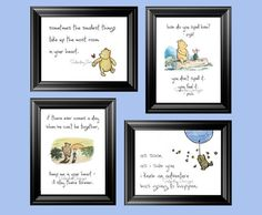 Set of 4 Classic Winnie the Pooh Quotes 4x6 by SaturdayDesigns