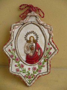 Beautiful EX Voto Scapular Sacred Heart of Jesus Silk Embroidery