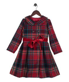 Loving this Red Plaid Satin Sash Peacoat - Toddler & Girls on #zulily! #zulilyfinds