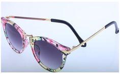TJazz 2016 Women's Retro Round Arrow Style Metal Frame Wayfarer Polarized Sunglasses (Floral, Purple)