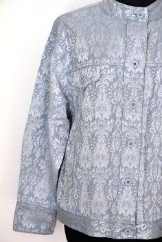 Bill Blass Jeans Floral Cotton Blend Jacket, Size L, Excellent Condition #BillBlass #BasicJacket