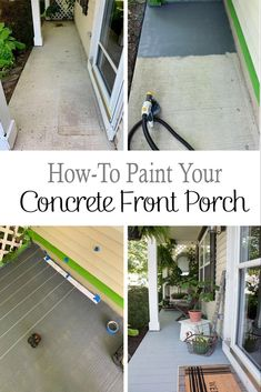 How to Paint A Porch Floor With Concrete Paint - The Honeycomb Home How to update your cement porch with painted concrete floors. These are painted to look like wood planks, cheap and easy DIY idea with big impact! Best Concrete Paint, Painted Concrete Porch, Painted Front Porches, Concrete Front Porch, Concrete Patios, Concrete Staining, Exterior Concrete Paint, Paint Cement, Concrete Houses