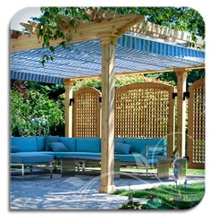 Oooh! This breezy, retractable cover gives great screening from the hot sun while adding a decorative touch. Would work great on an attached patio cover or a freestanding pergola as shown. From Shade FX.