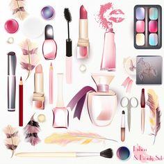 Coloré de maquillage éléments collection Vecteur Premium