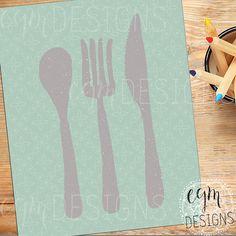Spoon Fork Knife Kitchen Art Printable, Blue, wall decor print, digital wall art, kitchen wall art, kitchen decor, 3 sizes