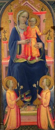 Virgin and Child enthroned, with two angels, Franchi, Rossello di Jacopo 14th and 15th century.