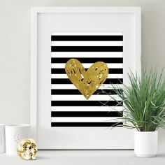 Golden Heart on monochrome stripes Poster Print by Pastel Trail. See more at http://www.pasteltrail.com #posterprint #pasteltrail  #homedecor