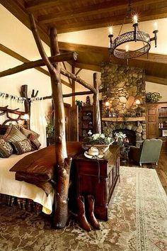 Rustic cabin bedroom log home bedroom, bedroom decor, dream bed Log Home Bedroom, Dream Bedroom, Bedroom Decor, Bedroom Country, Bedroom Fireplace, Bedroom Furniture, Cozy Fireplace, Cozy Bedroom, Rustic Cabin Master Bedroom
