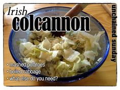 Irish Colcannon - mashed potatoes and boiled cabbage (Unchained Sunday)