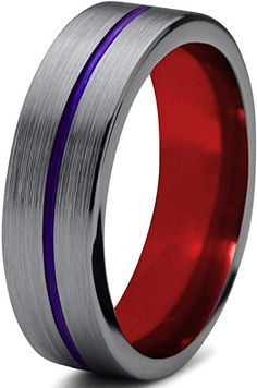 Chroma Color Collection Tungsten Wedding Band Ring 10mm for Men Women Blue Red Green Purple Black Step Beveled Edge Brushed Polished Size 4