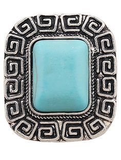 Faux Turquoise Square Shape Ring #CLICK! #clothing, #shoes, #jewelry, #women, #men, #hats, #watches