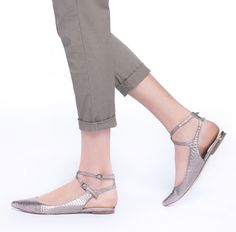 Grace Flats. Add sophistication to your outfit with a silver metallic flat!