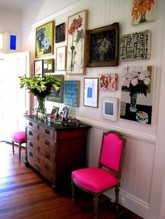Gallery wall art (and pink chairs)
