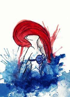 The Little Mermaid in watercolors.
