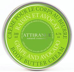 Attirance - Body Butter Cream - Grape & Avocado - 6.7oz - All Natural with Avocado Oil, Shea Butter & Grape Seed Oil