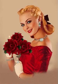 Beauty In Art, Beauty Girls, Red Images, Gifs, Watercolor Paintings, Glamour, Female, Formal Dresses, Vintage