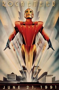 "Poster from film: ""The Rocketeer"" Illustration and graphic by John Mattos - reinterpretation ArtDeco style - Retrofuturism Marvel Movie Posters, Best Movie Posters, Movie Poster Art, Art Deco Illustration, Art Deco Posters, Vintage Posters, The Cooler Movie, Plakat Design, Kunst Poster"