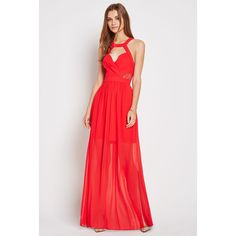 BCBGeneration Surplice Lace Trim Evening Dress ($128) ❤ liked on Polyvore featuring dresses, red, red wrap dress, red halter cocktail dress, red cocktail dress, halter cocktail dress and halter dress