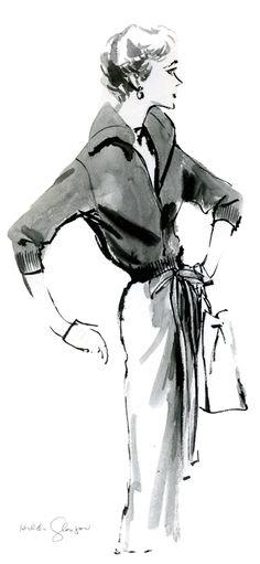 Evie c. 1954 Fashion Illustration by Hilda Glasgow