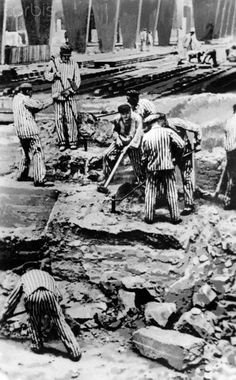 Prisoners of the concentration camp Sachsenhausen work in the brick factory Oranienburg, date unknown.