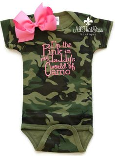 Baby Girls Camo Outfit with Bow  Camouflage by AllThatSassBoutique