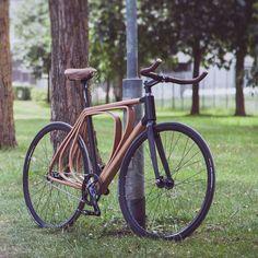 Prachtig design, hout is echt tof materiaal voor een fiets