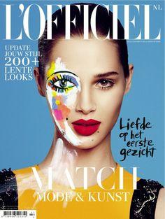 Erg mooie en opvallende cover van de februari-editie van de Nederlandse L'Officiel, die in het teken staat van de relatie tussen mode en kunst. Het artwork is door deNew Yorkse Andrea Mary Marshal op de cover(foto) geschilderd.    Het februarinummer van L'Officiel NL is te koop voor €4,50.