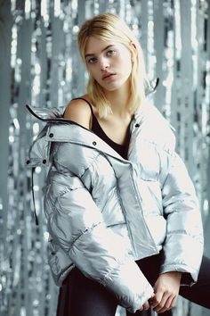 Light Before Dark Metallic Silver Puffer Jacket