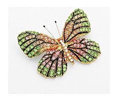 "Dazzling Pink, Green Golden and Opalescent Glass Crystal High End Butterfly Brooch 2"" W By 1.50"" L -- Check this awesome product by going to the link at the image."