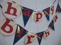 See ya Happy Birthday Baseball Party Banner - Red Navy and Ivory Baseballs