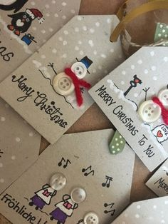 Hand crafted Gift Tags 6 per pack image 4 Homemade Christmas Cards, Diy Holiday Gifts, Handmade Christmas Decorations, Christmas Crafts For Gifts, Christmas Gift Tags, Christmas Items, Christmas Diy, Christmas Presents, Diy Cadeau Noel