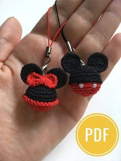 For Beginners Toys Mickey&Minnie Mouse crochet pattern Disney Minnie Mouse Keyring Mickey Mouse Key Chains Ornament pdf holiday gift pdf tutorial Crochet Crafts, Crochet Toys, Crochet Projects, Free Crochet, Crochet Granny, Crochet Baby, Crochet Mickey Mouse, Mickey Minnie Mouse, Disney Mickey