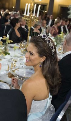 Princess Madeleine of Sweden wearing the amethyst tiara after the Noble Awards.