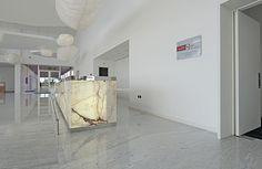Pavimento Mármore Branco Carrara / Balcão Onix Branco Rajado