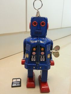 Blue Tin wind up Toy Robot