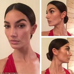 Natural beauty: The mother-of-one slicked her brunette locks into a low bun and wore nude ...