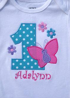 Girls Birthday Aqua & Pink Butterflies by TheSassySquirrel, $19.99