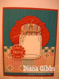 "Stamp Set: Perfectly Preserved, Mixed Medley  Paper: Cajun Craze, Island Indigo, Whisper White, Orchard Harvest DSP  Ink: Early Espresso, Cajun Craze  Misc: Cannery Set Framelit Die, Lacy Brocade Embossing Folder, 1 1/4"" scallop circle punch, Window Frames Collection Framelits, Woodgrain Embossing Folder, Linen Thread"