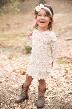 Layered Embroidered Lace Country Dress  Long sleeve lace dress is perfect for an outdoor wedding. Made with layers of embroidered lace and we have